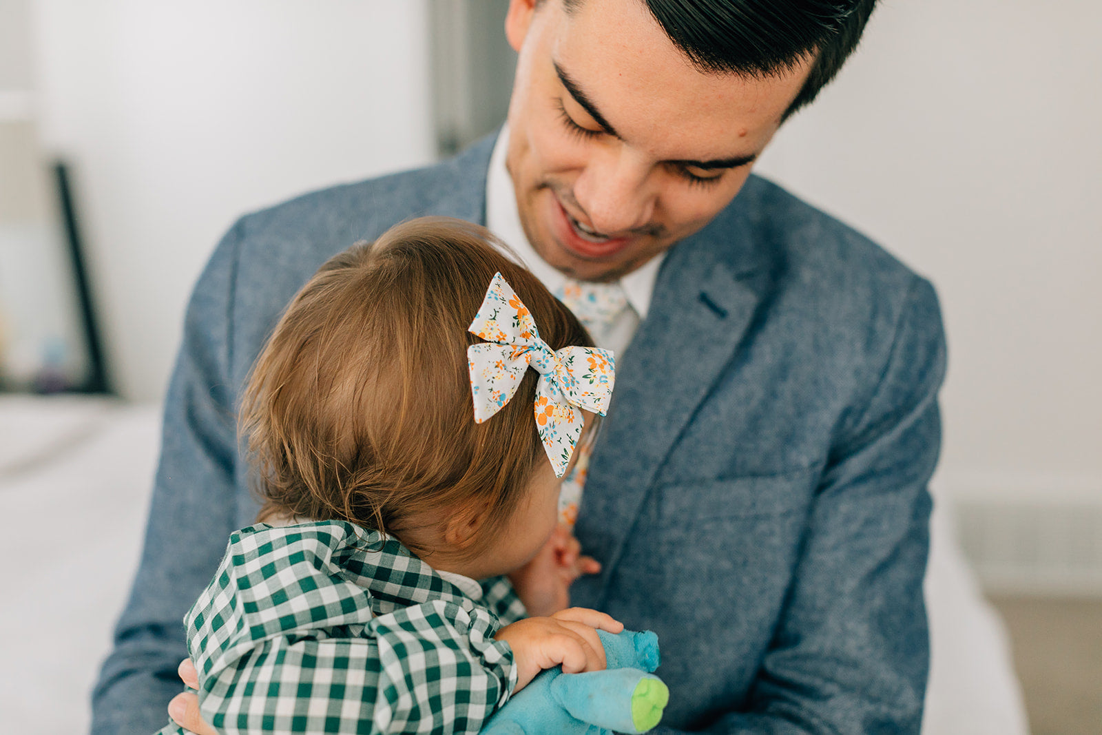 Baby hair bow, orange and blue floral, alligator clip, daughter and father matching hair bow and tie, Green gingham dress