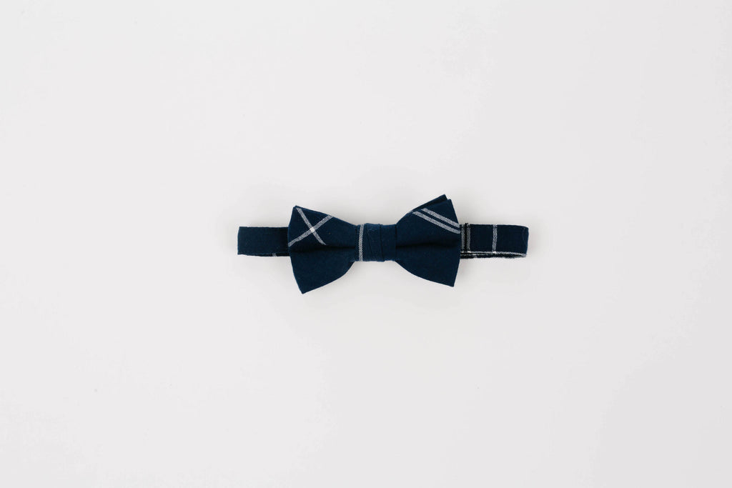 Navy blue windowpane bowtie, velcro closure, navy blue and white wedding party ties, navy blue and white geometric ties