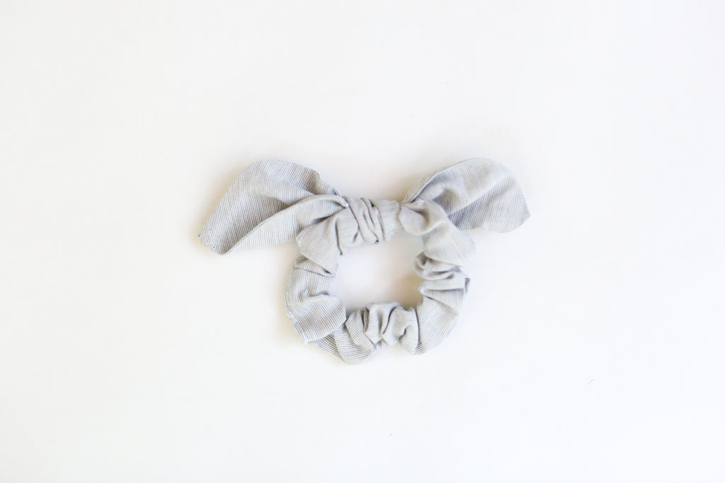 gray cotton scrunchies, handmade in Washington,  gray wedding party accessories