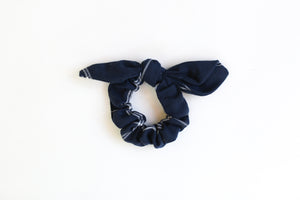navy blue hair scrunchies, matching scrunchies and mens tie, handmade scrunchies,