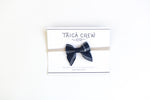 navy-blue and white windowpane baby hair bow, navy-blue matching wedding accessories, matching father daughter tie hairbow,