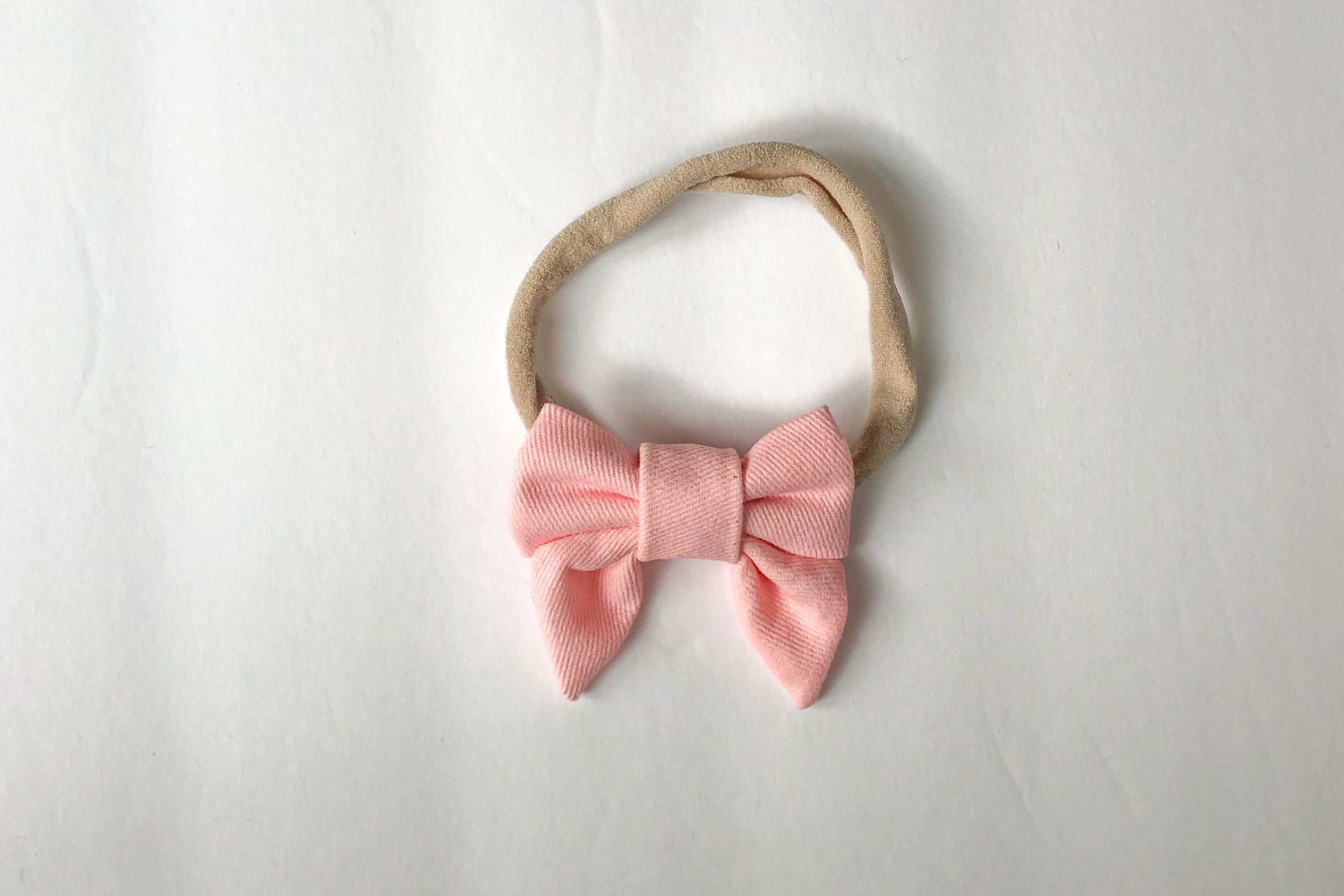 Pink baby hair bow, chunky sailor bow, matching tie and baby hair bow, nylon headband