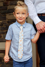 kids floral tie, orange and blue floral tie, wedding ties, little boy with blue shark shirt. Velcro closure tie.