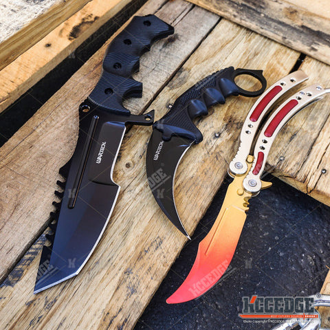 3 PC CS:GO COMBO COUNTER STRIKE KARAMBIT Hawk Claw KNIFE + Balisong Butterfly Practice Knife Non Sharp + HUNTSMAN TACTICAL COMBAT Hunting Bowie GIFT SET