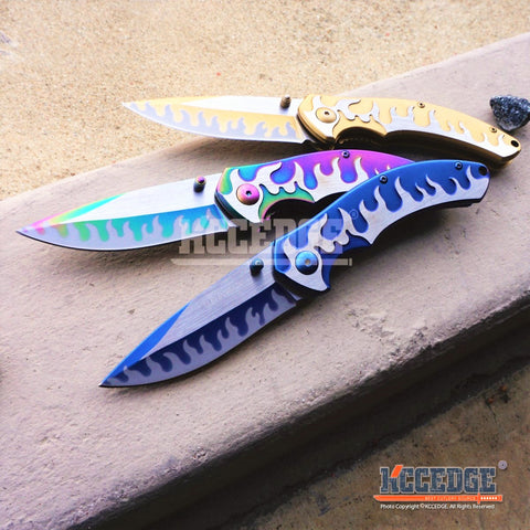 "3PC COMBO 7.25"" SURVIVAL FLAME KNIFE SET Outdoor Fantasy Assisted Open Embossed"