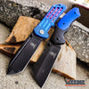 Image of 2 PC EDC HIKING Spring Assisted Open Buckshot TANTO Folding Pocket Knife + Buckshot HUNTING Cleaver RAZOR Blade Gift Set