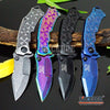 "Image of 4 COLORS 9.5"" 4MM COMBAT CAMPING HUNTSMEN TITANIUM COATED ETCHED Razor Blade TITANIUM COATED Handle Pocket Folding Knife"