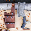 "Image of 11"" HANDMADE FIXED BLADE SAWBACK CLEAVER High End Classic Hunting Knife 250 folded layers twist REAL DAMASCUS STEEL Buck Horn FULL TANG w/ Genuine Leather Sheath"