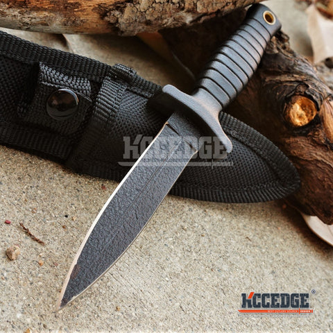 "7"" TACTICAL COMBAT BLACK BOOT KNIFE Spear Point Hunting Military Fixed Blade Knife w/Nylon Sheath"