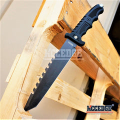 "WARTECH 13.25"" Wildlife Military Combat Fixed Tanto Blade Hunting Knife with Serrated Sawback & Glass Breaker"