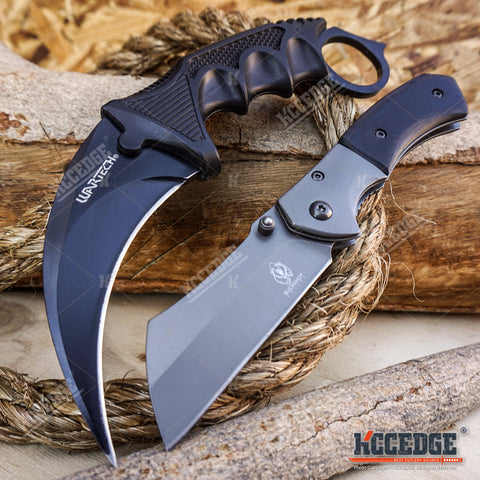 "2PC COMBO 6.5"" BUCKSHOT OUTDOOR CLEAVER POCKET KNIVES + COUNTER STRIKE KARAMBIT"