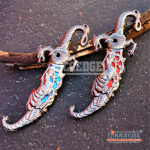 "2 COLOR 10"" INLAY FANTASY DRAGON DAGGER W/ SHEATH Blade Knife Sword Unique"