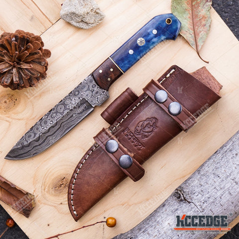 "9 5/8"" HANDMADE DROP POINT FIXED BLADE Classic Hunting Knife 250 folded layers twist REAL DAMASCUS STEEL Bison Horn FULL TANG w/ Genuine Leather Sheath"