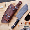 "Image of 11"" CUSTOM HANDMADE Exotic 250 Layers Twist REAL DAMASCUS STEEL BUCK HORN Classic Hunting High End FULL TANG CLEAVER FIXED KNIFE Genuine Leather Sheath"