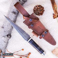 "13"" HANDMADE DOUBLE EDGE DAGGER 250 folded layers twist REAL DAMASCUS STEEL BULL HORN Hunting FULL TANG Blade w/ Genuine Leather Sheath"