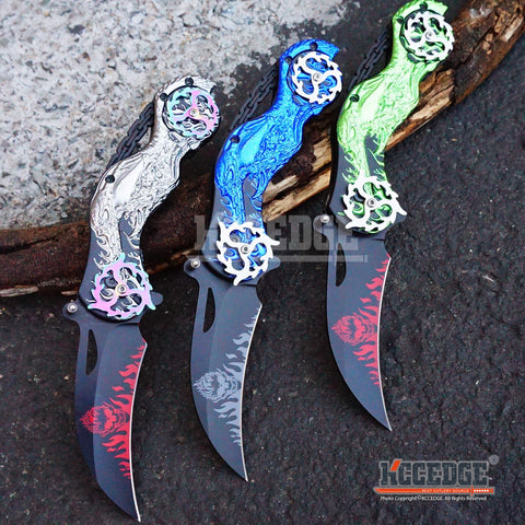 "3 COLORS 9.25"" 3MM HAWKBILL COMBAT TACTICAL ASSISTED OPEN Pocket Folding Knife FLAMING Razor Blade w/SPINNING WHEEL MOTORCYCLE HANDLE"