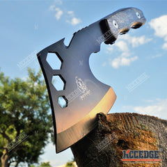 "11"" COMBAT OUTDOOR TOMAHAWK GUT HOOK THROWING AXE Tactical Battle Hatchet Hunting Hex Hole Zombie Survival Ax"