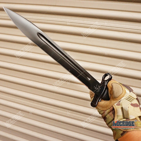 "14.5"" WWII M1 GARAND STYLE BAYONET KNIFE Military Tactical Hunting Fixed Razor Blade Full Tang + SCABBARD w/ Belt Hanger"