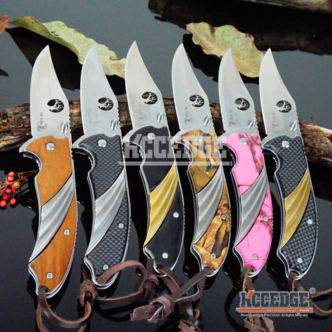 "6 COLORS 8"" 3MM CAMPING HUNTING RESCUE Elk Cutout Blade Assisted Open Pocket FOLDING KNIFE w/Leather Lanyard"