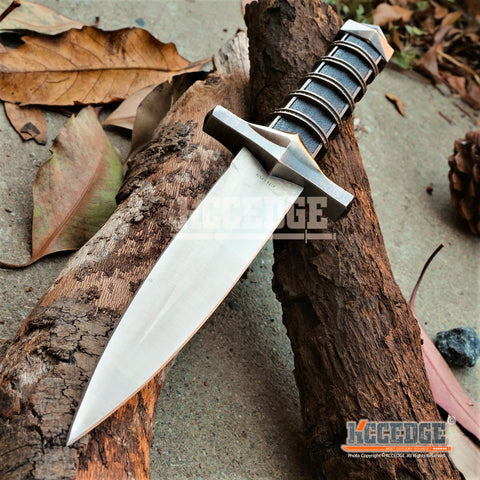 "11"" BLACK ASSASSIN DAGGER FANTASY Hunting Collectors Gift Medieval Knights Knife Steel Guard  w/ Scabbard & Chain"