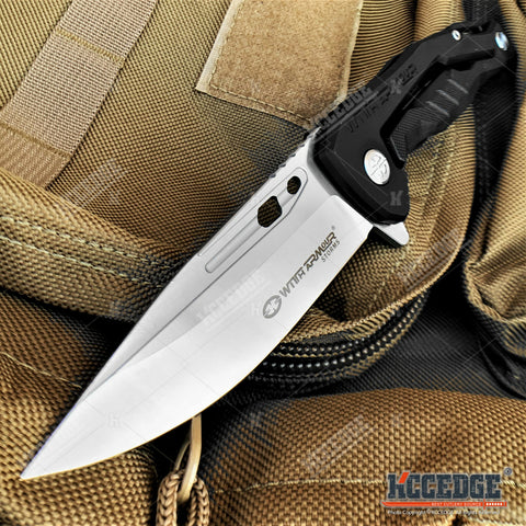"9"" Tactical Knife Satin Finish D2 Steel Blade Pocket Knife with Ball Bearing System Paired With G10 Handle Scales"