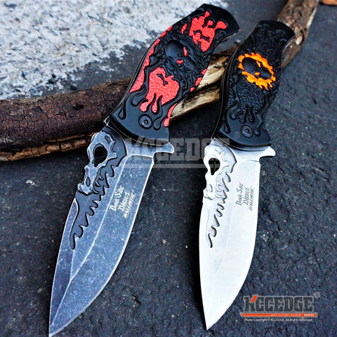 "2 COLORS 8.5"" 2.8MM COMBAT TACTICAL HUNTING STONEWASHED Blade SKULL Handle POCKET FOLDING Knife"