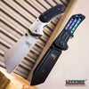 Image of 2 PC HUNTING SURVIVAL Assisted Open Buckshot TANTO Folding Pocket Knife + Buckshot Cleaver RAZOR Blade Gift Set