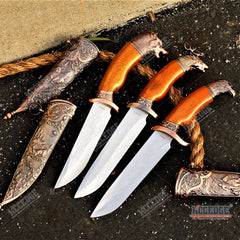 "12"" Classic Bronze Animal Series Wolf Deer Eagle Fantasy Dagger"