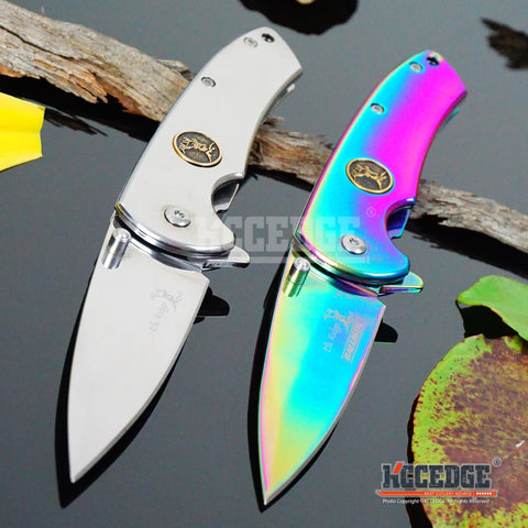 "2 COLOR 6.75"" 3MM HUNTING CAMPING MIRROR FINISH Stainless Steel Razor Blade ASSISTED OPEN DEER EMBLEM Folding Pocket Knife"