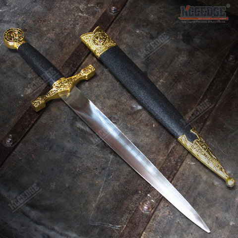 "15.5"" Medieval Excalibur Dagger with Dragon Engraved Pommel Design Handle"