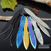 "Image of 3 Colors 3PC 6.5"" Ninja Kunai  Etched Dragon Flames Military Tactical Throwing Knife Set with Sheath Hunting Combat"
