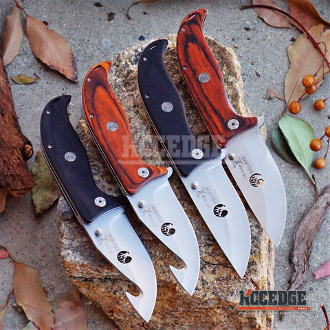 "4 COLORS 9.25"" 3.5MM HUNTSMEN CAMPING LASER CUTOUT ER Logo Satin Blade FISHING SKINNING Assisted Open FOLDING Knife w/Emblem Wood Handle"