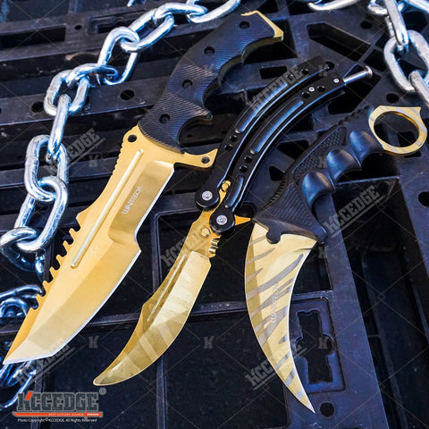3 PC CS:GO Gold COMBO COUNTER STRIKE KARAMBIT Hawk Claw KNIFE + Non Sharp Balisong Butterfly Practice Knife + HUNTSMAN MILITARY Hunting Bowie GIFT SET