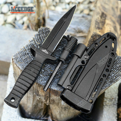 "6.75"" Tactical Survival Fixed Blade Knife w/ Pressure Sheath And Fire Striker"
