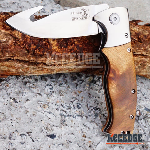 "4 COLOR 7.75"" 3MM GUTHOOK OUTDOOR HUNTING SKINNING Assisted Open RAZOR BLADE Wooden Handle Folding Knife"