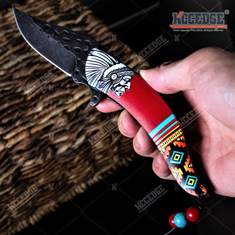 "8"" INDIAN CHIEF EDC POCKET KNIFE GRAY STONEWASHED BLADE TACTICAL FOLDING KNIFE"