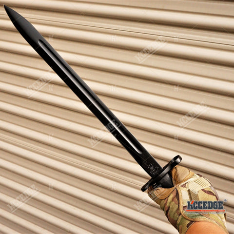 "20"" WWII M1 GARAND STYLE BAYONET KNIFE Military Tactical Hunting Fixed Parkerized Steel Black Blade Full Tang + SCABBARD w/ Belt Hanger"