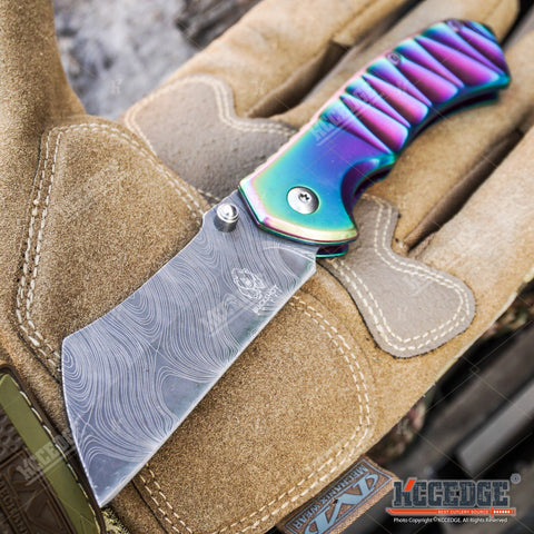"Little Cleaver Combo 2 PC Rainbow Assisted Open HIKING Miniature 6.5"" Damascus Etched Cleaver + 8"" Pearlized Rainbow CAMPING CLEAVER RAZOR Blade Gift Set"