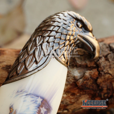 "13"" HUNTER COLLECTORS EAGLE DAGGER 3 Types Fixed Blade Knife Patriotic Eagle Head Pommel Handle Engraved Blade US Flag w/Scabbard"
