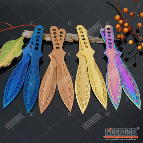 "2PC 9"" KUNAI COMBAT 4 Colors Throwing Knife Set TECHNICOLOR CSGO Flame Full Tang Throwers w/ Sheath"