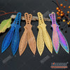 "Image of 2PC 9"" KUNAI COMBAT 4 Colors Throwing Knife Set TECHNICOLOR CSGO Flame Full Tang Throwers w/ Sheath"