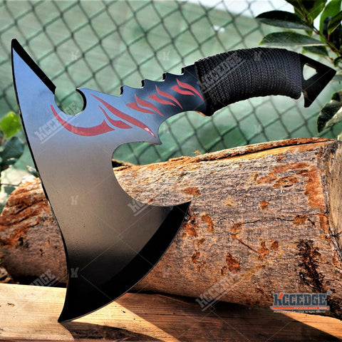 "11 3/8"" HUNTING ZOMBIE RED FLAME TOMAHAWK THROWING AXE Gut Hook Tactical Battle"