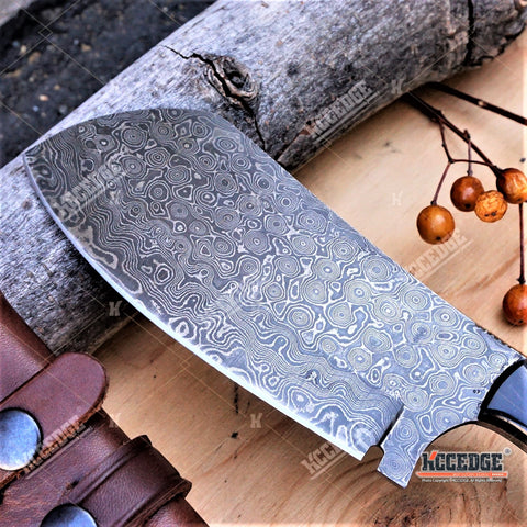 "10"" CUSTOM HANDMADE High End 250 Layers REAL DAMASCUS STEEL SHEEP HORN Classic Hunting FULL TANG CLEAVER FIXED KNIFE Genuine Leather Sheath"