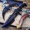 Image of 3 PC CS:GO COMBO COUNTER STRIKE KARAMBIT Hawk Claw KNIFE + Balisong Butterfly Practice Knife Non Sharp + HUNTSMAN TACTICAL COMBAT Hunting Bowie GIFT SET