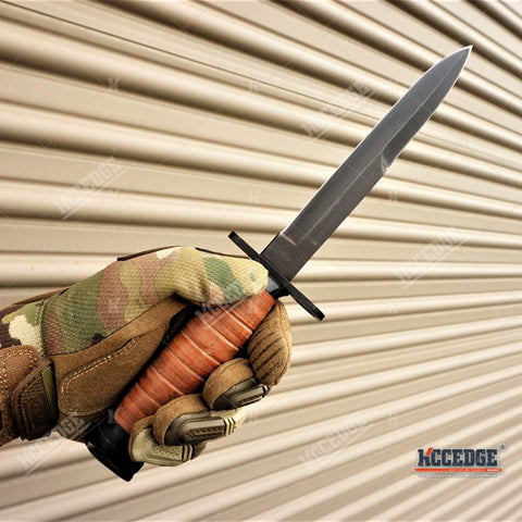 "11 3/4"" WWII M3 FIGHTING BAYONET ARMY KNIFE Tactical Hunting Fixed Razor Blade LEATHER HANDLE + SCABBARD w/ Wire Hook"