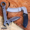 Image of 2 PC Grey MULTI TOOL WRENCH KNIFE POCKET KNIFE Mechanics Folding Razor Blade + Assisted Open BUCKSHOT CLEAVER SHAVER STYLE Blade EDC HIKING Gift Set