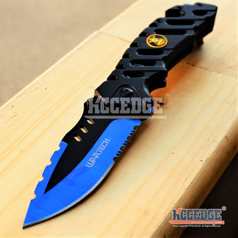 "5PC COMBO DEAL 8.87"" RESCUE SURVIVAL HUNTING HALF SERRATED Blade POCKET Knife"
