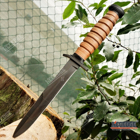 "11 3/4"" WWII M3 FIGHTING TRENCH KNIFE w/out Bayonet STACKED LEATHER HANDLE + SCABBARD w/ Wire Hook TACTICAL HUNTING FIXED BLADE"