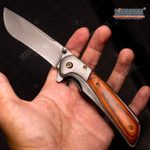 "8"" Classic Camping Survival Rescue Knife Assisted Open Stainless Steel Pocket Folding Knife"