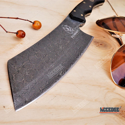 "11"" CUSTOM HANDMADE Exotic 250 Layers Twist REAL DAMASCUS STEEL BUCK HORN Classic Hunting High End FULL TANG CLEAVER FIXED KNIFE Genuine Leather Sheath"